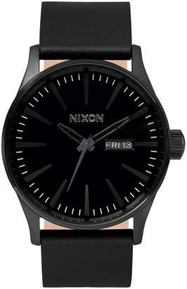 Nixon Men Sentry Leather/Canvas Strap Watch 42mm