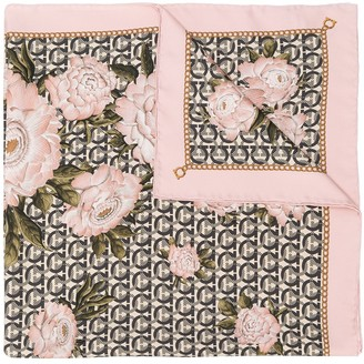 Salvatore Ferragamo Gancini and peonies print scarf