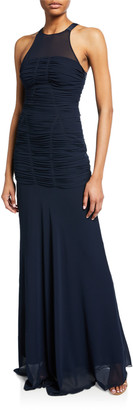 Halston Sleeveless High-Neck Fitted Ruching Gown