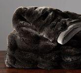 Pottery Barn Ruched Faux Fur Throw - Ebony