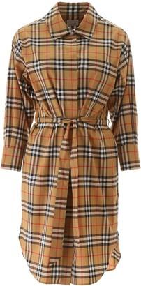 Burberry Vintage Check Belted Shirt Dress