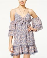 City Studios Juniors' Floral-Print Off-The-Shoulder Dress