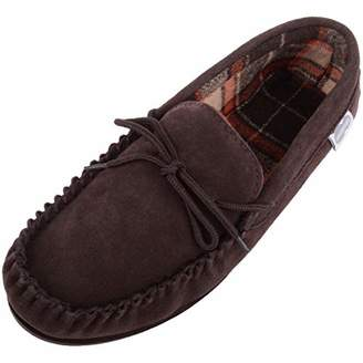 SNUGRUGS George Mens Suede Moccasin with Checked Cotton Inner and Rubber Sole - - UK 13