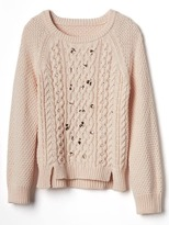 Gap Embellished cable knit sweater