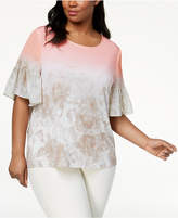 Calvin Klein Plus Size Printed Flare-Sleeve Top