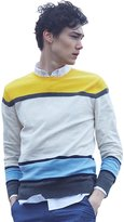 Meters/bonwe Men's Color Block Long Sleeve Knitted Fashion Sweater, L