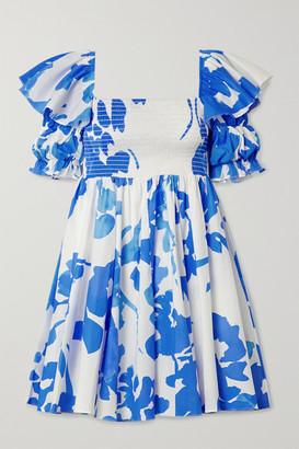 Caroline Constas Hanna Shirred Floral-print Cotton-blend Poplin Mini Dress - White