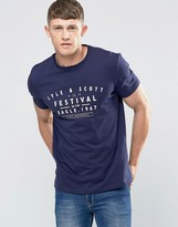 Lyle & Scott T-Shirt With Festival Print In Navy