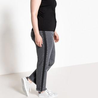 "Castaluna Plus Size Side Stripe Ankle Grazer Jeans, Length 27"""