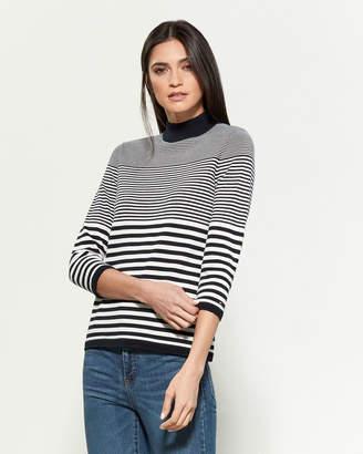 Tommy Hilfiger Mock Neck Stripe Long Sleeve Sweater
