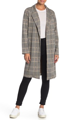 MelloDay Plaid Notch Lapel Long Jacket