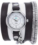 La Mer Silvertone Octagonal Case Black Leather and Square Bead Wrap Watch