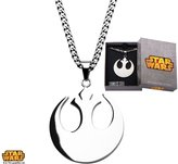 """Disney Star Wars Stainless Steel Rebel Alliance Symbol Pendant with 22"""" Chain Gift Box Included"""