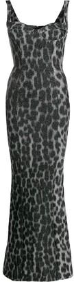 Just Cavalli metallic-leopard fishtail gown