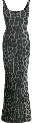 Just Cavalli Metallic-Leopard Fishtail Gown