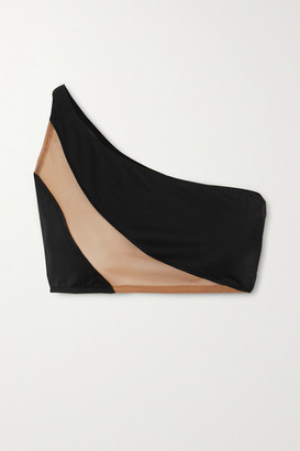Norma Kamali Snake One-shoulder Mesh-paneled Bikini Top - Black