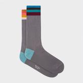 Paul Smith Men's Grey 'Artist Stripe' Cuff Odd Socks