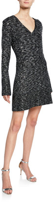 St. John V-Neck Long-Sleeve Bejeweled Evening Texture Knit Dress w/ Chain Trim