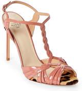 Francesco Russo Pink Patent Leather T-Strap Sandals