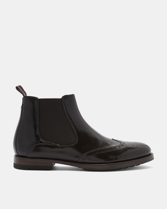 Ted Baker Leather Brogue Detail Chelsea Boots
