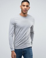 ASOS BRAND ASOS Lightweight Muscle Sweatshirt In Gray Marl