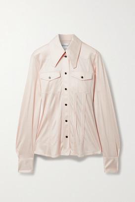 Victoria Beckham Pintucked Silk-satin Jersey Shirt - Cream