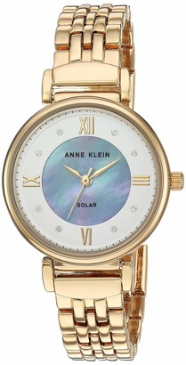 Anne Klein Considered Women's Solar Powered Swarovski Crystal Accented Gold-Tone Bracelet Watch AK/3630MPGB