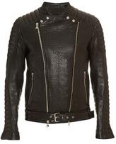 Balmain Biker Collarless Leather Jacket