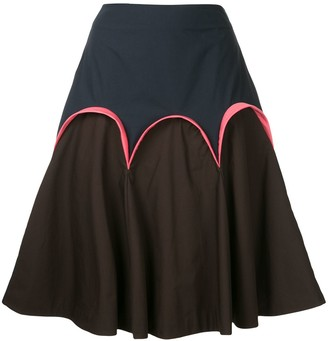 DELPOZO scalloped detail A-line skirt