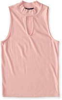 Aeropostale Solid Ribbed Mock-Neck Tank