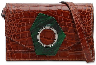 Ganni Croc Embossed Leather Shoulder Bag