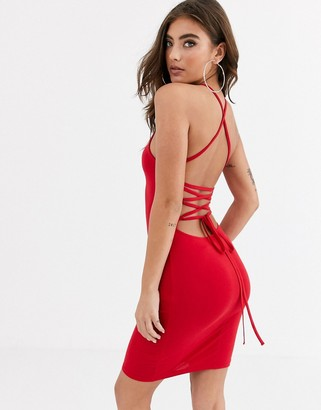 Asos Design DESIGN going out strappy back mini dress in red