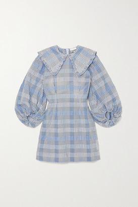 Ganni Checked Seersucker Mini Dress - Blue