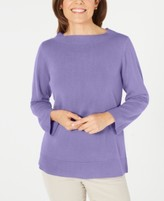 Karen Scott Bateau-Neck Long-Sleeve Sweater, Created for Macy's