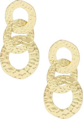 Ettika Hammered Triple Hoop Drop Earrings