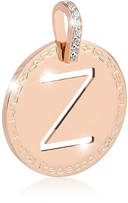 Rebecca Rose Gold-plated Bronze & Zirconia Z Charm W/Rhodium-plated Necklace