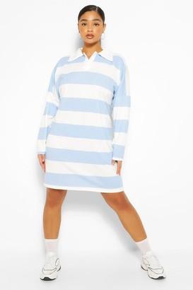 boohoo Plus Stripe Boyfriend Rugby Tee Dress