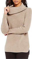 Calvin Klein Cowl Neck Hi-Low Hem Ribbed Knit Sweater