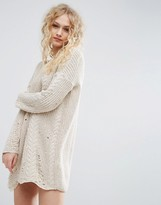 Asos Sweater Dress In Cable And Ladder Stitch
