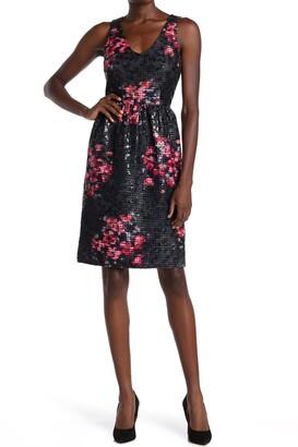 trina Trina Turk Sequin Embellished Floral Lattice Dress