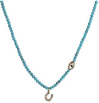 Rebecca Minkoff Semi Precious Charm Necklace w/ Horseshoe (Gold/Blue) Necklace