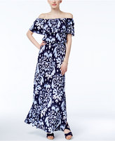 INC International Concepts Petite Off-The-Shoulder Printed Maxi Dress, Created for Macy's