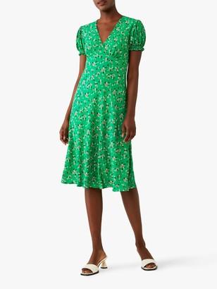 Ghost Jemima Floral Print Knee Length Dress, Green
