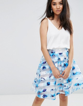 AX Paris Cream And Blue Printed Dress With Cami Style Top