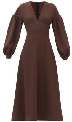Emilia Wickstead Tiege Baloon-sleeve Wool-crepe Midi Dress - Brown