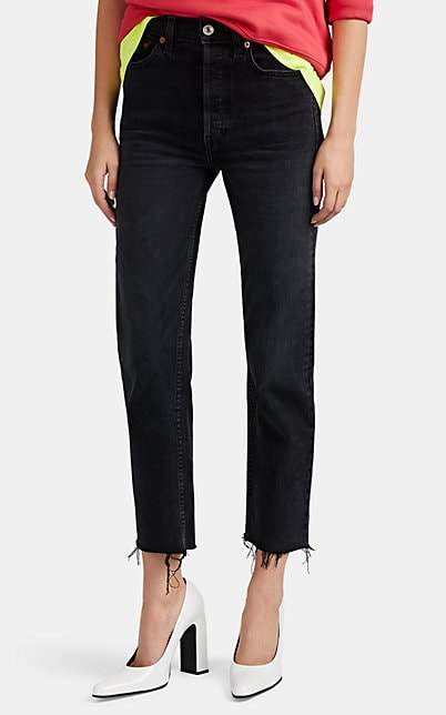 RE/DONE Women's High Rise Stovepipe Jeans - Black