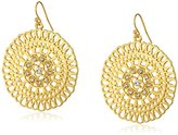 1928 Jewelry Gold-Tone Crystal Large Round Filigree Drop Earrings
