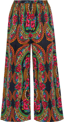Mes Demoiselles Pavoloski Printed Brushed Cotton-blend Twill Wide-leg Pants