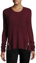 Sweet Romeo Zip-Detail Ribbed Sweater, Bordeaux