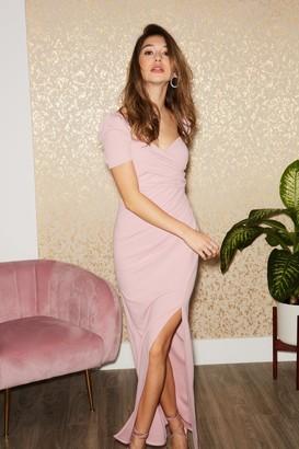 Little Mistress McIntosh Dusty Pink Puff Sleeve Maxi Dress